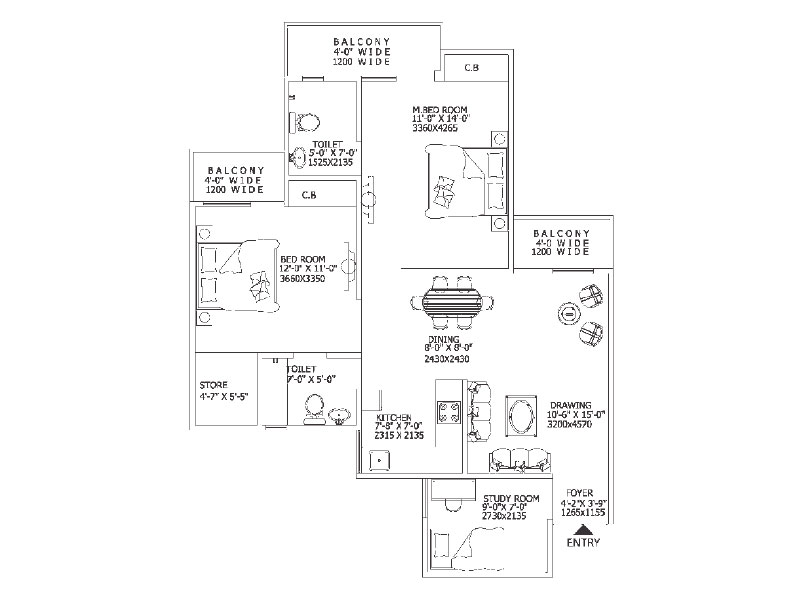 Gaur 10th Avenue 2BHK Apartment Floor Plan