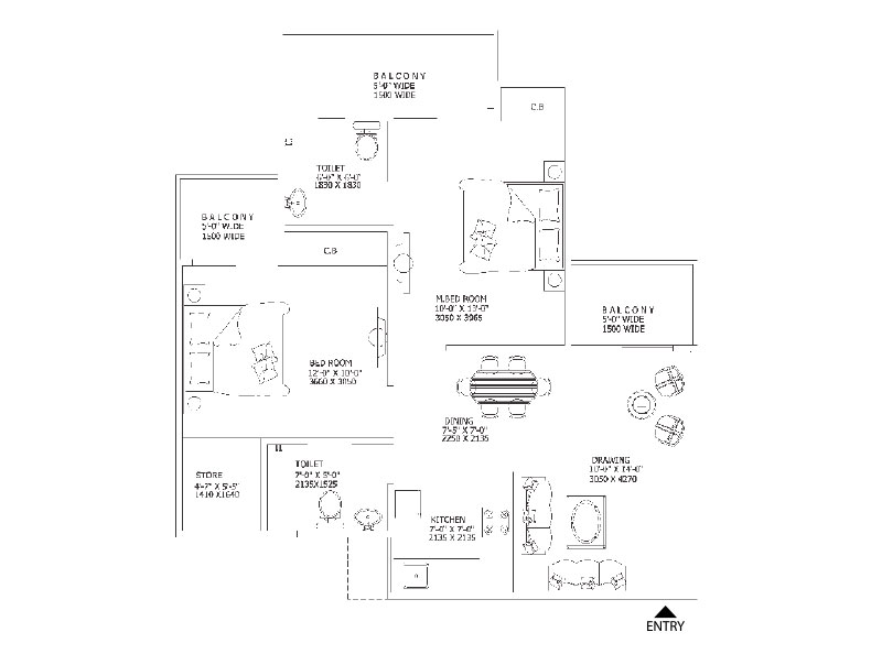 Gaur 11th Avenue Floor Plan 1010 Sq.Ft.