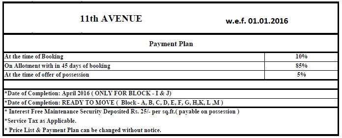 Gaur City 7th Avenue Payment Plan