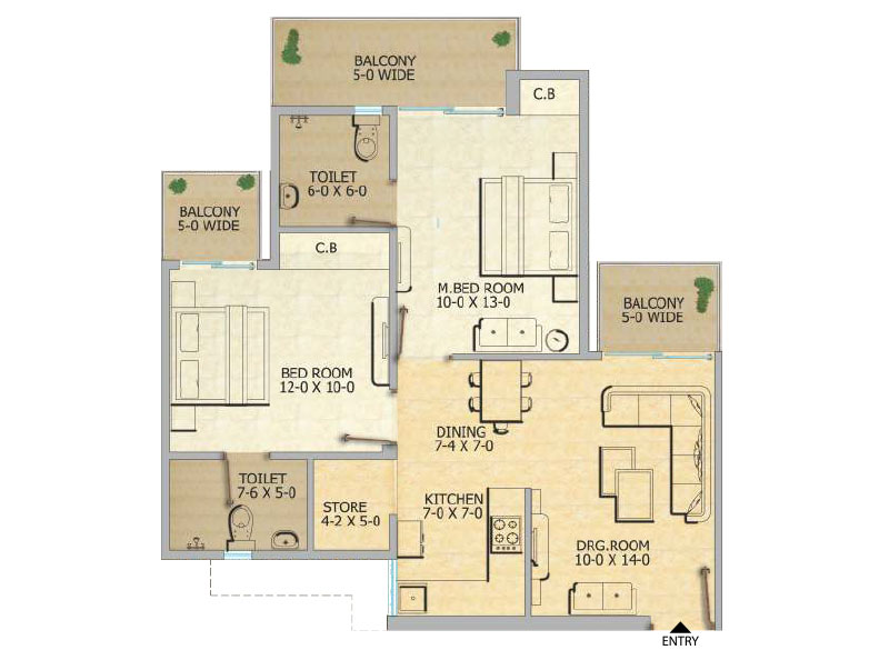 Gaur City 12th Avenue 2bhk Floor Plan