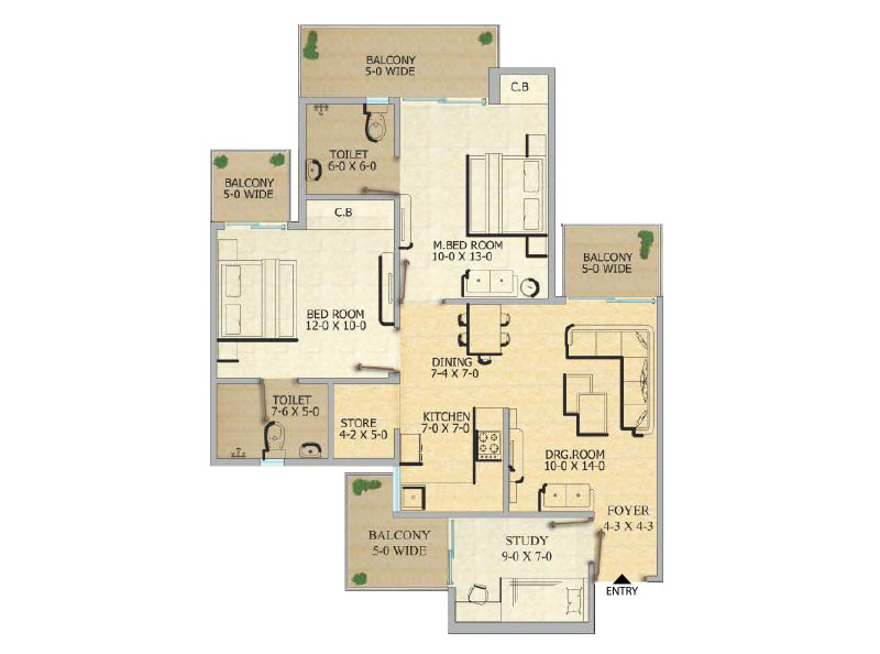 Gaurcity 12th Avenue Flats Floor Plan