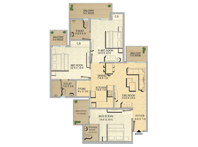 Gaurcity 12th Avenue Floor Plan