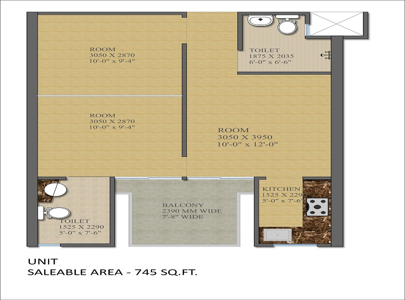 Gaur Smart Homes 2 Rooms Apartment Floor Plan