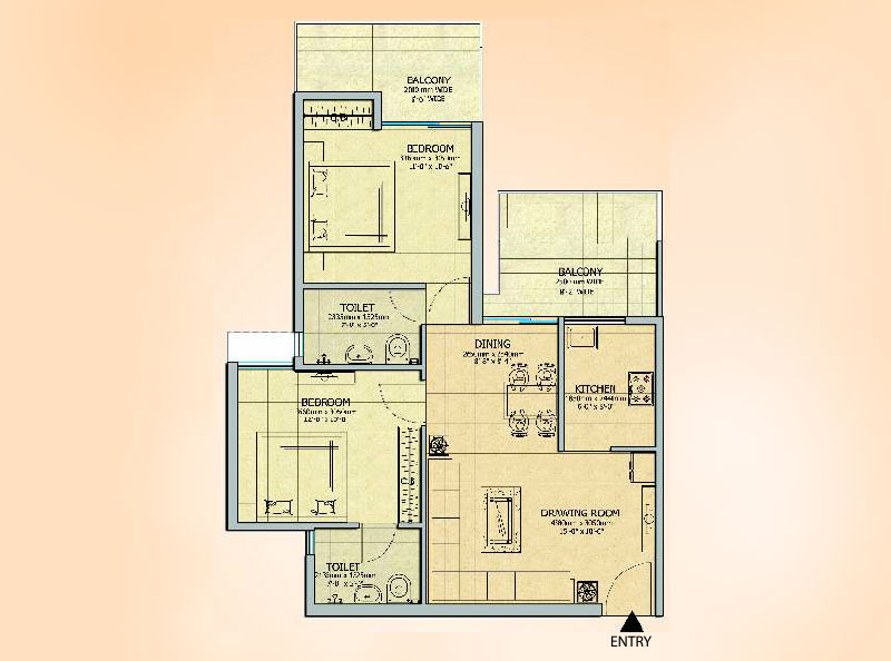 Gaur 14th Avenue 2BHK Apartment Floor Plan