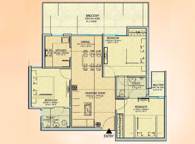 Gaur 14th Avenue 3BHK Apartment Floor Plan