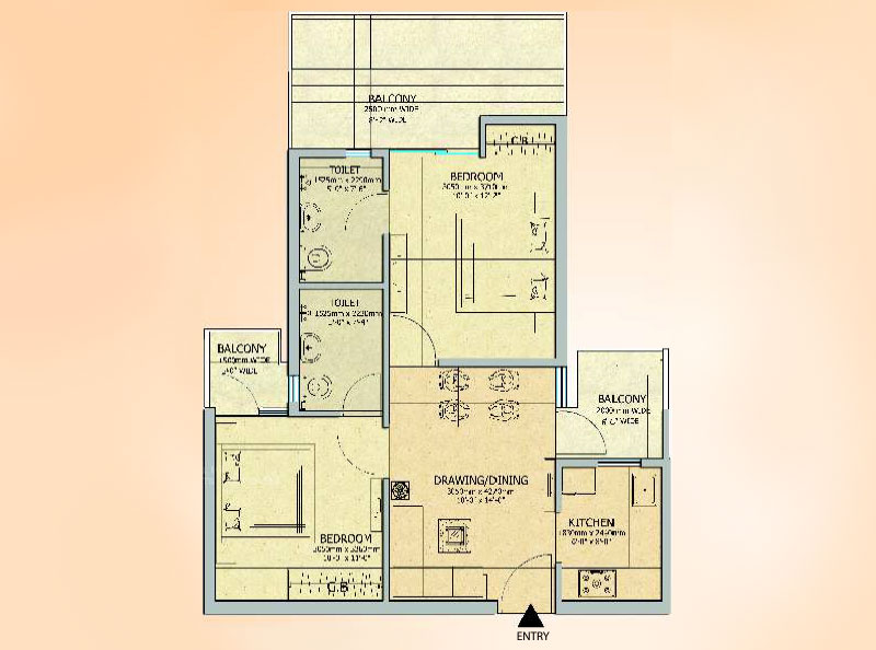 Gaur City 14th Avenue 2BHK Flats Floor Plan