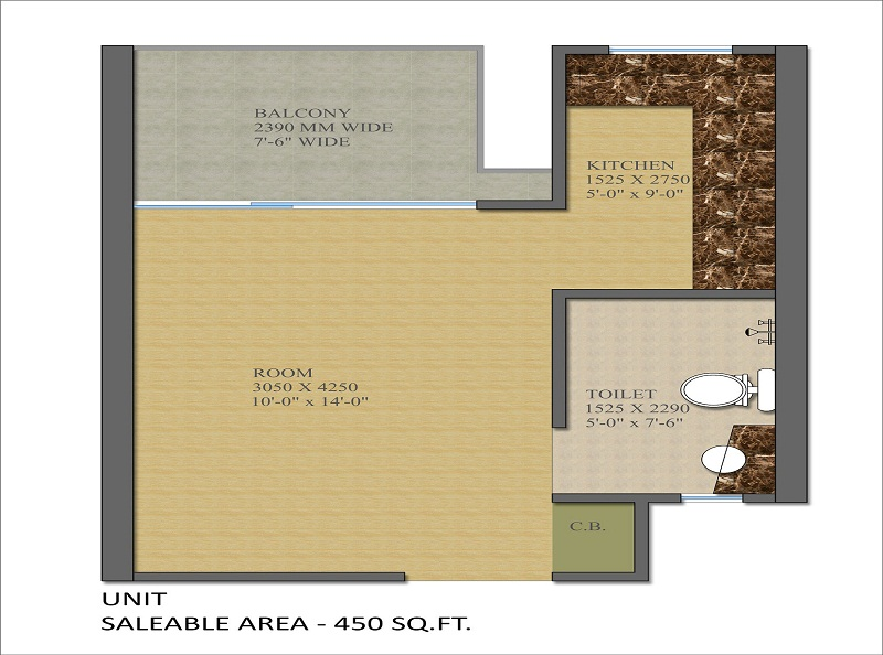 Gaur Smart Homes 3 Rooms Apartment Floor Plan