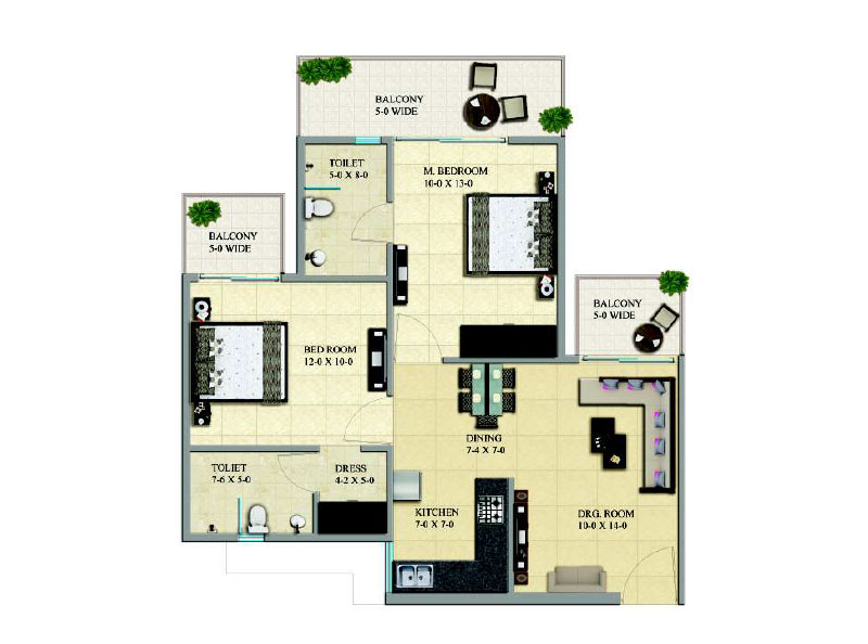 Gaur City 16th Avenue  2BHK Floor Plan