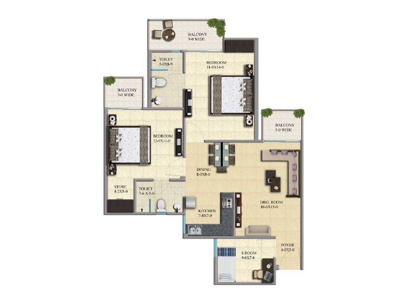Gaur City 16th Avenue 2BHK Flat Floor Plan