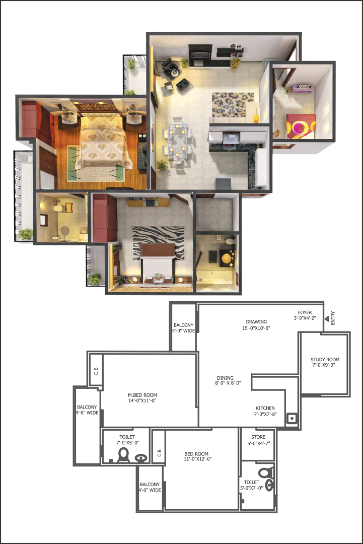 Gaur City 5th Avenue 2 BHK Floor Plan