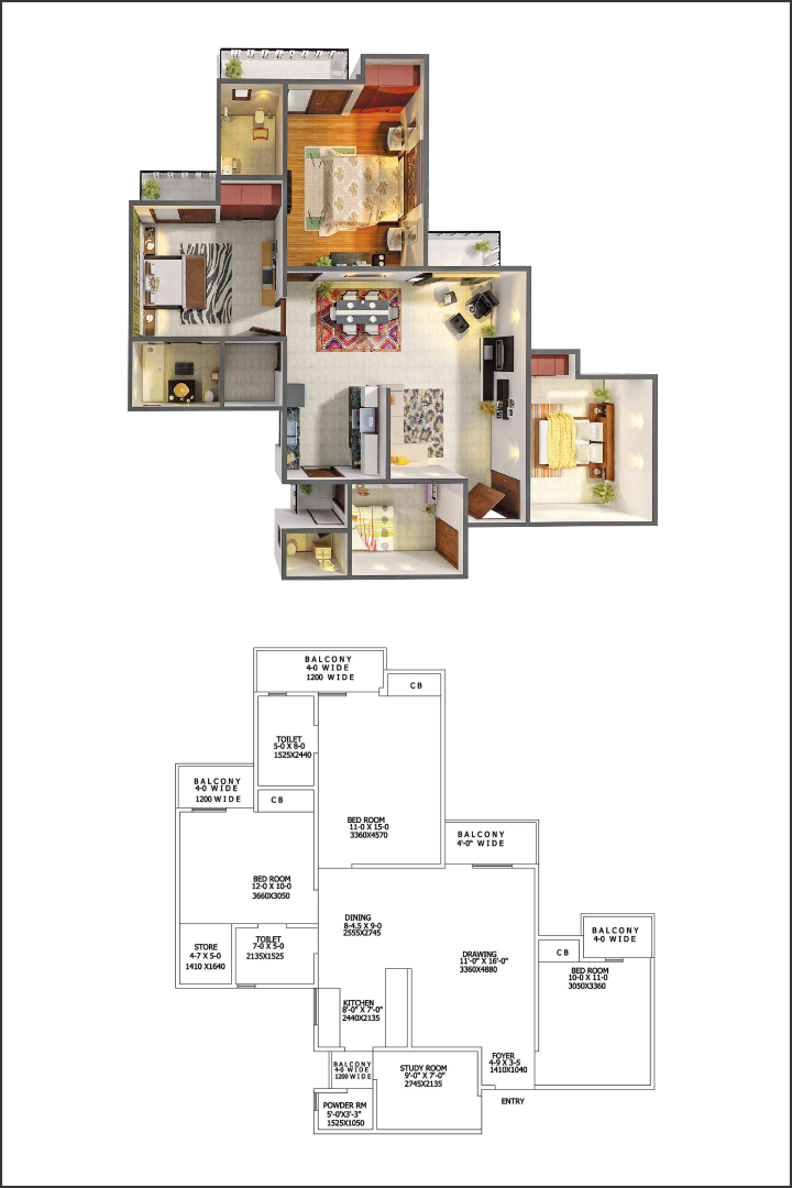 Gaur City 5th Avenue 3BHK Flats Floor Plan